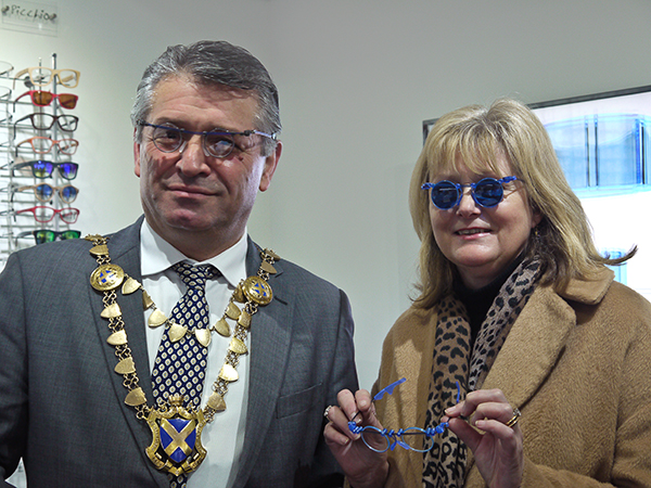 Mayor Salih Gaygusuz & Anne Main MP modelling the Style-Eyes frames currently At EOS.
