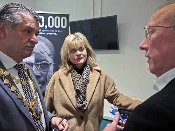 John explains the Style Eyes frames to the Mayor Councillor Salih Gaygusuz & Anne Main MP
